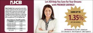 Let JCB Help You Save For Your Dreams With Premier Savings!