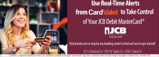 Use Real-Time Alerts From CardValet To Take Control Of Your JCB Debit MasterCard