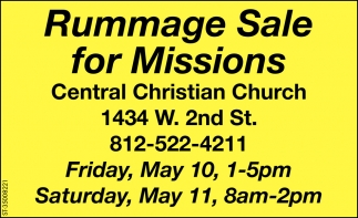 Rummage Sale For Missions, Central Christian Church